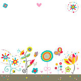 Cute Colorful Background. White background with a border of fun flowers, butterflies and hearts Stock Photos