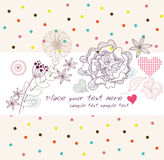 Cute colorful background with flowers and hearts. Invitation, greeting or birthday card Royalty Free Stock Photo