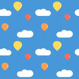 Cute colorful balloons in the blue sky seamless pattern background illustration Royalty Free Stock Photography