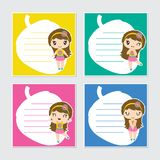 Cute colorful beach girl frame  cartoon illustration for summer memo paper. Design, stationery and planner sticker Stock Image
