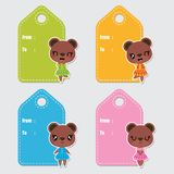 Cute colorful bear girls cartoon illustration for Birthday gift tags design. Postcard and sticker set vector illustration