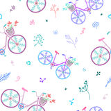 Cute colorful beautiful bicycles seamless pattern with decorative wheels and flowers. vector illustration