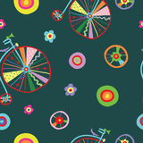 Cute colorful beautiful bicycles seamless pattern with flowers and birds and decorative wheels Royalty Free Stock Image