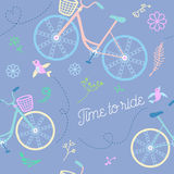Cute colorful beautiful bicycles seamless pattern with flowers and birds and decorative wheels vector illustration