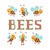 Cute colorful bee characters set illustration Royalty Free Stock Photos