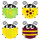 Cute colorful beetle set Stock Images