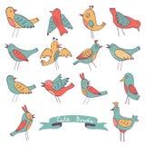 Cute colorful birds collection Stock Photos