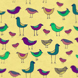 Cute colorful Birds set with blur. Raster pattern. Royalty Free Stock Photo