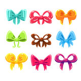 Cute Colorful Bows Set, Vector Illustration Set Royalty Free Stock Photography