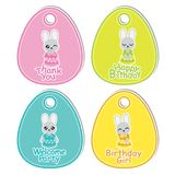 Cute colorful bunny girls suitable for birthday gift tag set. Vector cartoon illustration with cute colorful bunny girls suitable for birthday gift tag set Stock Image