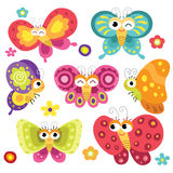 Cute and Colorful Butterflies Stock Photography