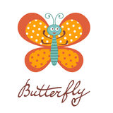 Cute colorful butterfly character Stock Photos