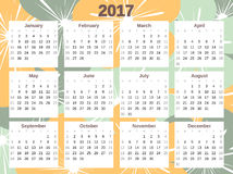 Cute colorful 2017 calendar with flowers. Cute colorful 2017 calendar vector with flowers Stock Images