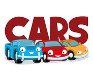 Cute colorful cars. Cute colorful cars on a white background Royalty Free Stock Images