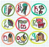Cute colorful cartoon alphabet from I to Q. This is file of EPS8 format Stock Photo