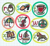 Cute colorful cartoon alphabet from R to Z Stock Photo