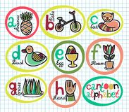 Cute colorful cartoon alphabet from A to H Stock Photo