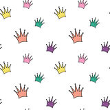 Cute colorful cartoon crowns seamless pattern background illustration Royalty Free Stock Image