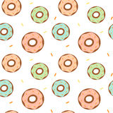 Cute colorful cartoon donuts seamless pattern background illustration Stock Image