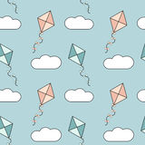 Cute colorful cartoon kites in the blue sky seamless pattern background illustration Stock Photography