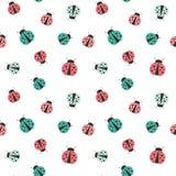 Cute colorful cartoon ladybug seamless background illustration Royalty Free Stock Images