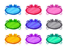 Cute colorful cartoon long oval buttons set Royalty Free Stock Photo