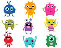Cute and colorful cartoon monsters. Vector set of happy alien monsters in rainbow colors for baby and birthday invitations Stock Photos