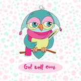 Cute colorful cartoon owl is sick Royalty Free Stock Photos