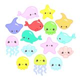 Cute colorful cartoon sea animals in circle for baby designs, kids invitations and summer greeting cards. Cute vector ocean set vector illustration