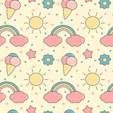 Cute colorful cartoon seamless vector pattern background illustration with rainbows, sun, clouds, ice creams, stars and flowers. Cute colorful cartoon seamless stock illustration