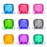 Cute colorful cartoon square buttons set. Vector assets for web or game design, isolated UI elements on white background vector illustration