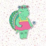 Cute colorful cartoon turtle in pink dress Royalty Free Stock Photography