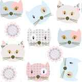 Cute colorful cats seamless pattern and seamless pattern in swat Stock Photos