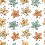 Cute colorful chestnut leaves seamless vector pattern background illustration. Cute colorful chestnut leaves seamless pattern background illustration vector illustration