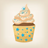 Cute colorful Christmas cupcake Stock Image