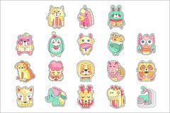 Cute colorful cloth patches set, embroidery or applique for decoration kids clothing cartoon vector Illustrations stock illustration