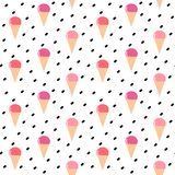 Cute colorful cone ice cream seamless vector pattern background illustration Stock Photos