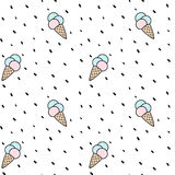 Cute colorful cone ice cream seamless vector pattern background illustration with dots Royalty Free Stock Images