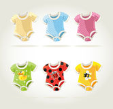 Cute colorful costumes for babies with fun prints Stock Photo