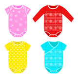 Cute colorful costumes for babies with fun prints Stock Images