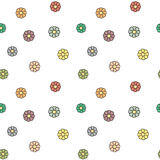 Cute colorful daisy flowers seamless pattern background illustration Stock Image