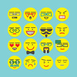 Cute colorful design element character faces icons set Royalty Free Stock Image