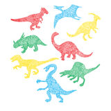 Cute colorful different dinosaur silhouette in cartoon scribble Royalty Free Stock Photo