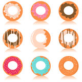 Cute colorful donuts. Set of colorful donuts with different design Royalty Free Stock Photography