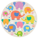 Cute Colorful Elephants. Illustrations of colorful elephants with flowers and peace signs Royalty Free Stock Image
