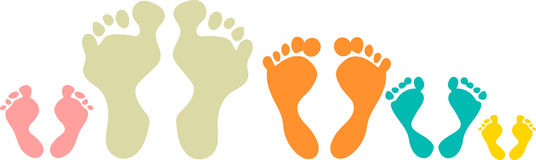 Cute and colorful family foot prints Stock Photo