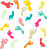 Cute and colorful family footprints seamless pattern white background Royalty Free Stock Photography