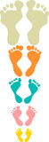 Cute and colorful family footprints Royalty Free Stock Photography