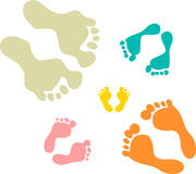Cute and colorful family footprints Royalty Free Stock Photos