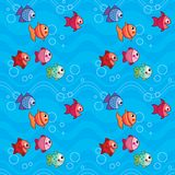Cute Colorful Fish Swimming Underwater with Waves Seamless Pattern Vector Illustration Stock Images